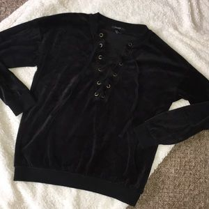 Forever 21 Lace Up Velour Top Black M